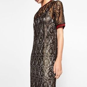 Zara gold lace dress